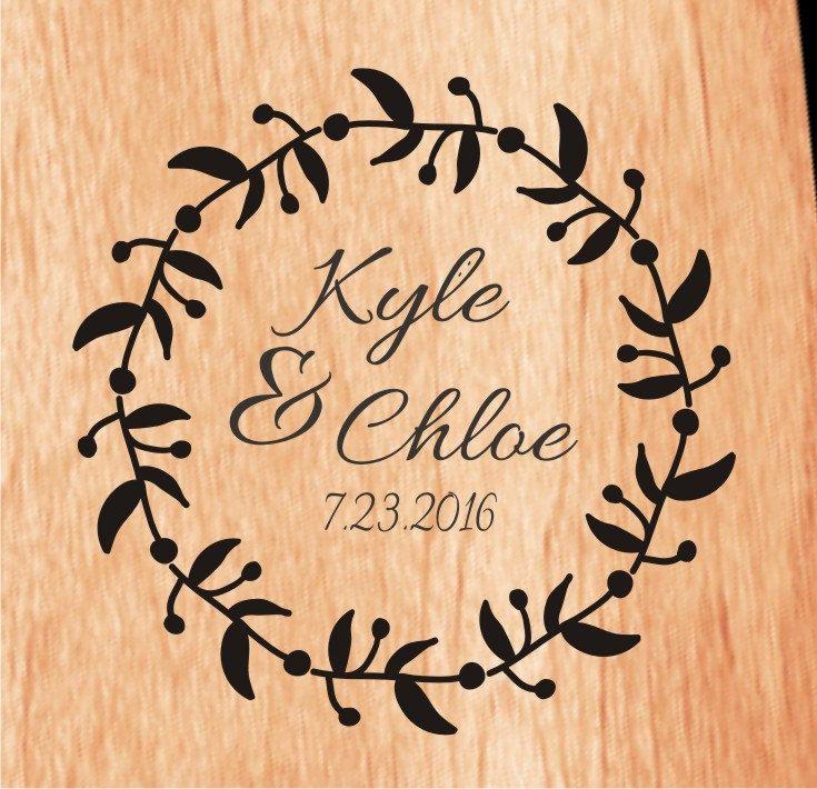 Wedding Monogram Cornhole Decal Set   Bride and Groom CornHole Sticker   Personalized Wedding Cornhole Decal   Wreath Cornhole Decal Set