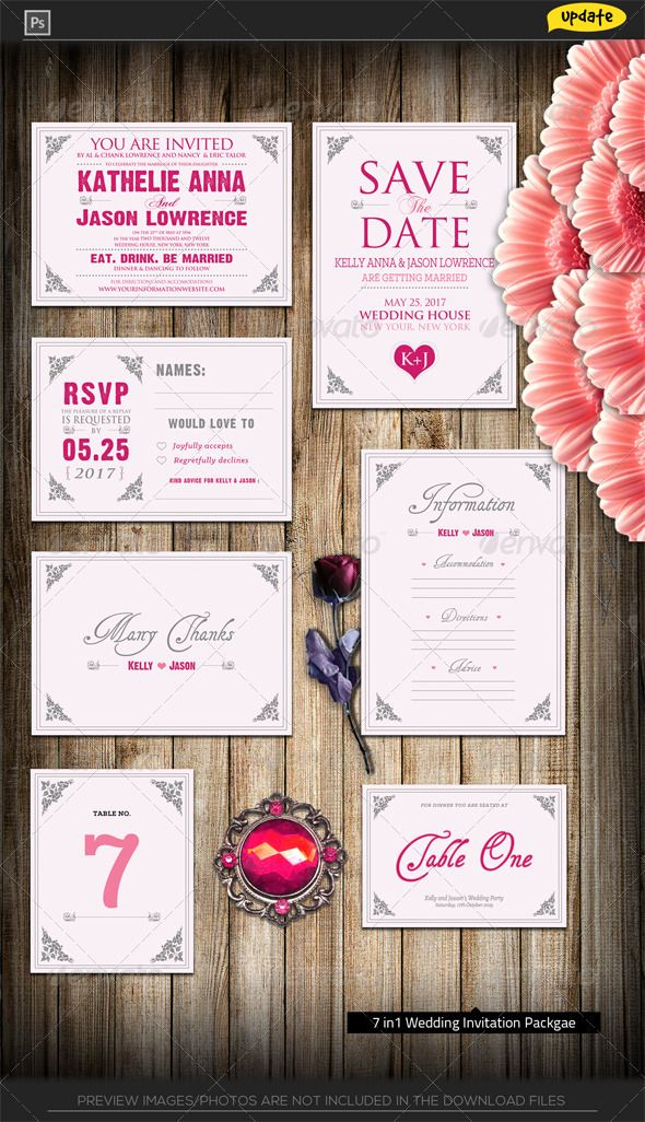 free templates for wedding response cards%0A Pinky Love Wedding Invitation Package  GraphicRiver   Wedding Invitation  Package  u     Pinky Love     dpi