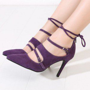 Purple Strappy Heels Buckles Pointy Toe Suede Pumps Stiletto Heels