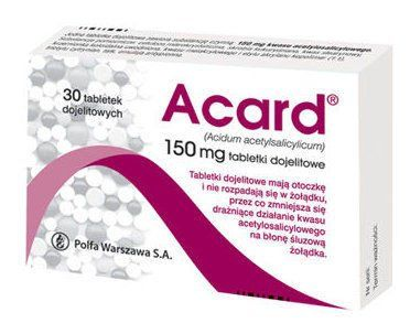 ACARD 150mg x 60 tablets reduces blood clotting, indicated in ischemic heart disease