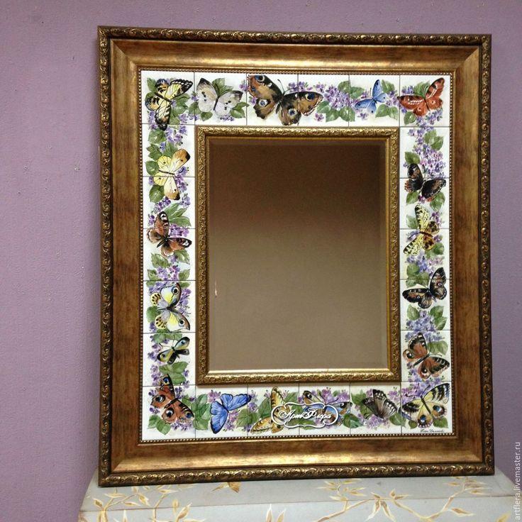 Купить Зеркало Бабочки и бабочки. - зеркало, зеркало настенное, зеркало в раме, зеркало ручной работы