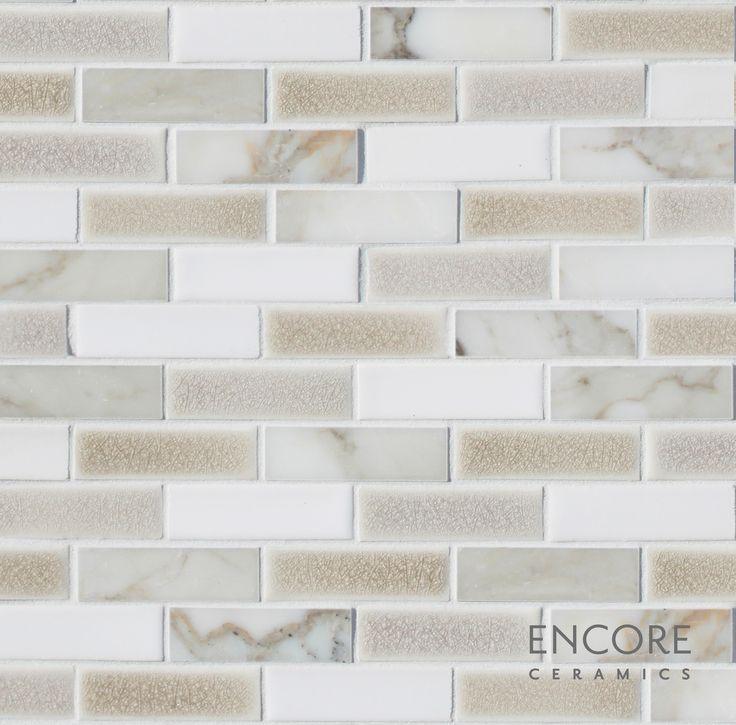 Encore Ceramics 1 X 3 Brick Mosaic Hand Glazed In Calacatta 903 Blend
