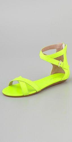rebecca minkoff: Green Shoes, Summer Sandals, Rebecca Minkoff, Neon Sandals, Neon Flats, Neon Shoes, Flats Sandals, Bettina Flats, Neon Yellow