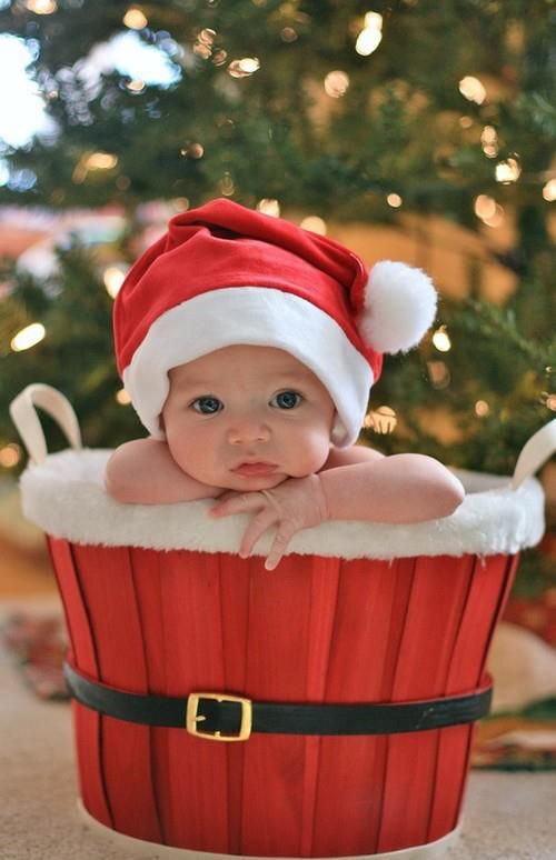 CUTE! Baby on Christmas, great picture idea. & add block numbers of the year down to the side would be cute as well