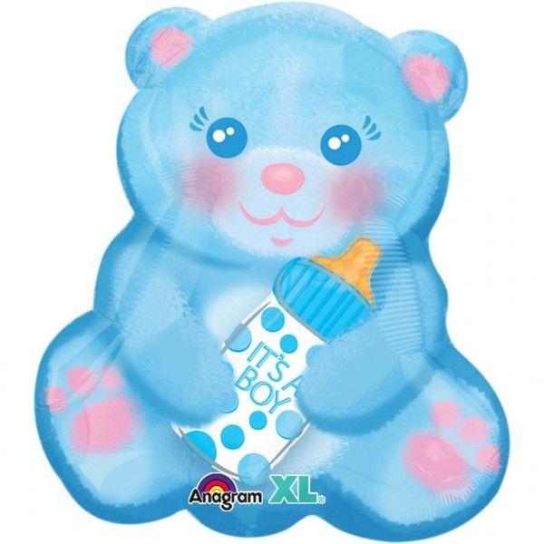 Poze Balon folie figurina Ursulet Bleu cu Biberon 38 x 40cm