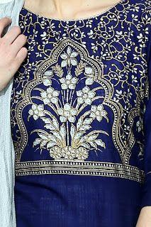 Rs. 883 Aurelia Three Qarter Sleeve Round Neck Cotton Blue Kurta from fashiondiya