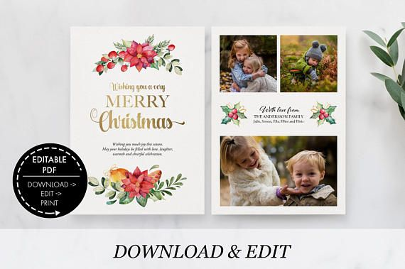 Christmas Card with Photo editable Template Holiday Card