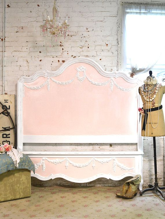 pale pink panel with white trim ....Painted Cottage Shabby Farmhouse Romantic Bed by paintedcottages