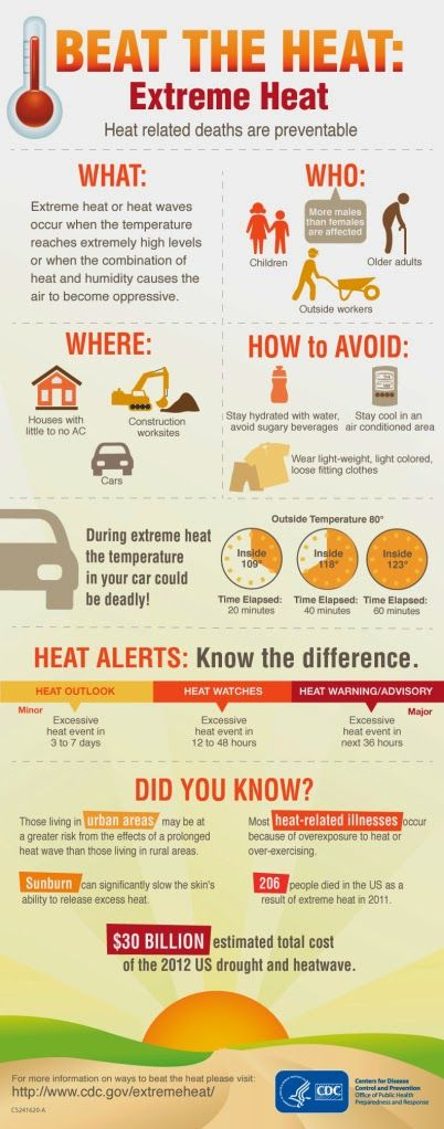 How to Stay Safe in Extreme Heat - #Infographics #health #temperature #heat #skincare