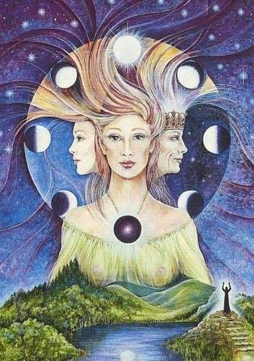 LA DIOSA La Diosa es la Madre Universal. Ella es la fuente de la fertilidad, de la sabiduría infinita y del amor. En la Wicca es representada en tres aspectos diferentes: la Doncella, la Madre y la Anciana, simbolizando las tres fases de la luna: creciente, llena y nueva (menguante). Ella es al mismo tiempo el campo virgen, el...  Leer mas:   http://elgrimoriowicca.blogspot.com/2015/02/la-diosa-la-diosa-es-la-madre-universal.html