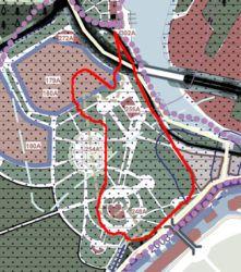 Генеральный план города, границы участка отмечены красным