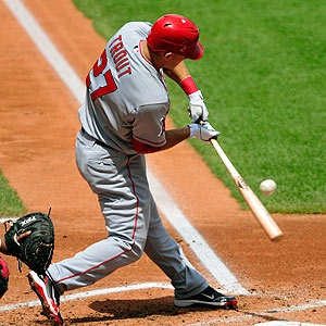 Mike Trout. Even though I'm not a fan of the angels, Matt trout is like one of my fav baseball players... :)