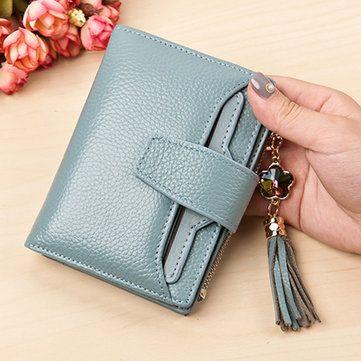 Multi-Slots Tassel Genuine Leather Short Wallet Credit Card Holder Purse For Women