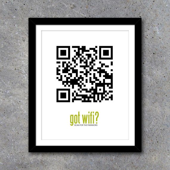 Wifi Password QR Code Sign. Never be asked for your wifi password again! Just scan with any QR Code Reader and you're instantly connected. By Studio 120 Underground, $10.