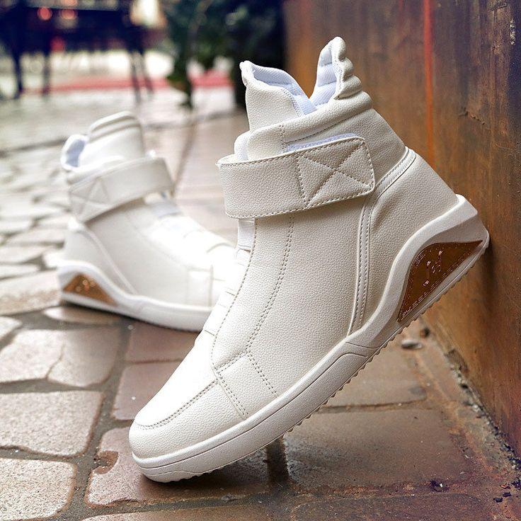 Men's Elastic Band High Top Casual Trainers Hook-Loop Sneakers