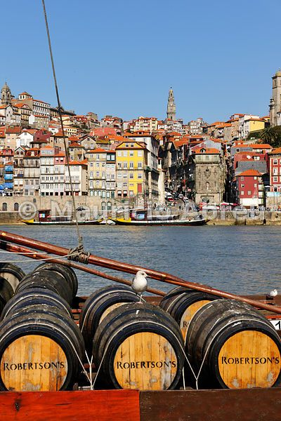 Porto, capital of the Port wine, and the Ribeira district, UNESCO World Heritage Site. In the foreground the Rabelos boats, Portugal
