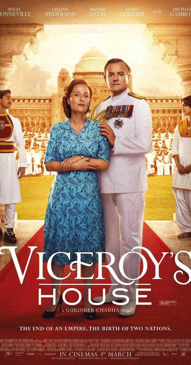 Directed by Gurinder Chadha.  With Gillian Anderson, Michael Gambon, Hugh Bonneville, Manish Dayal. In 1947, Lord Mountbatten assumes the post of last Viceroy, charged with handing India back to its people, living upstairs at the house which was the home of British rulers, whilst 500 Hindu, Muslim and Sikh servants lived downstairs.