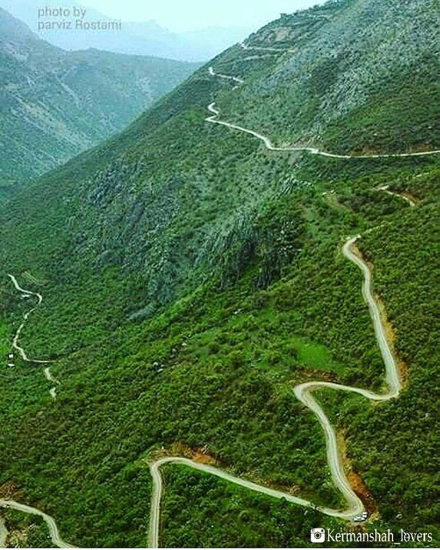 Beautiful Road through the breathtaking Landscape of the Province Kirmaşan, Iran.