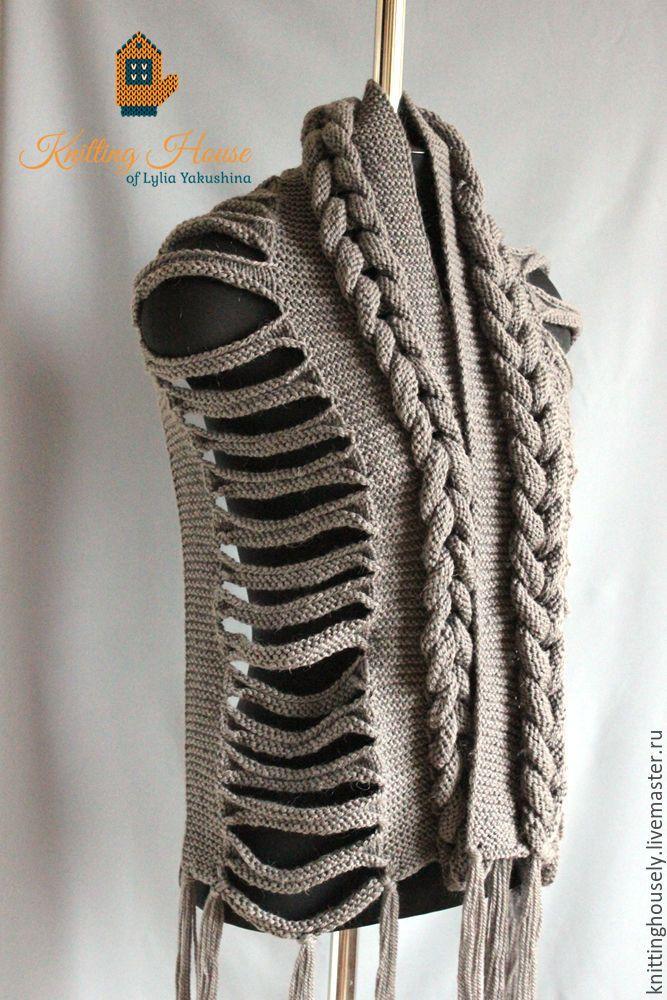 Купить Шарф связан Спицами из полушерстяной Пряжи серого цвета азиатская коса - шарф