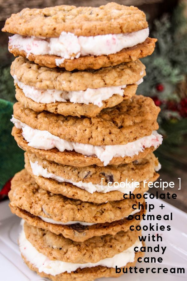 Oatmeal Chocolate Chip Candy Cane Buttercream Sandwiches