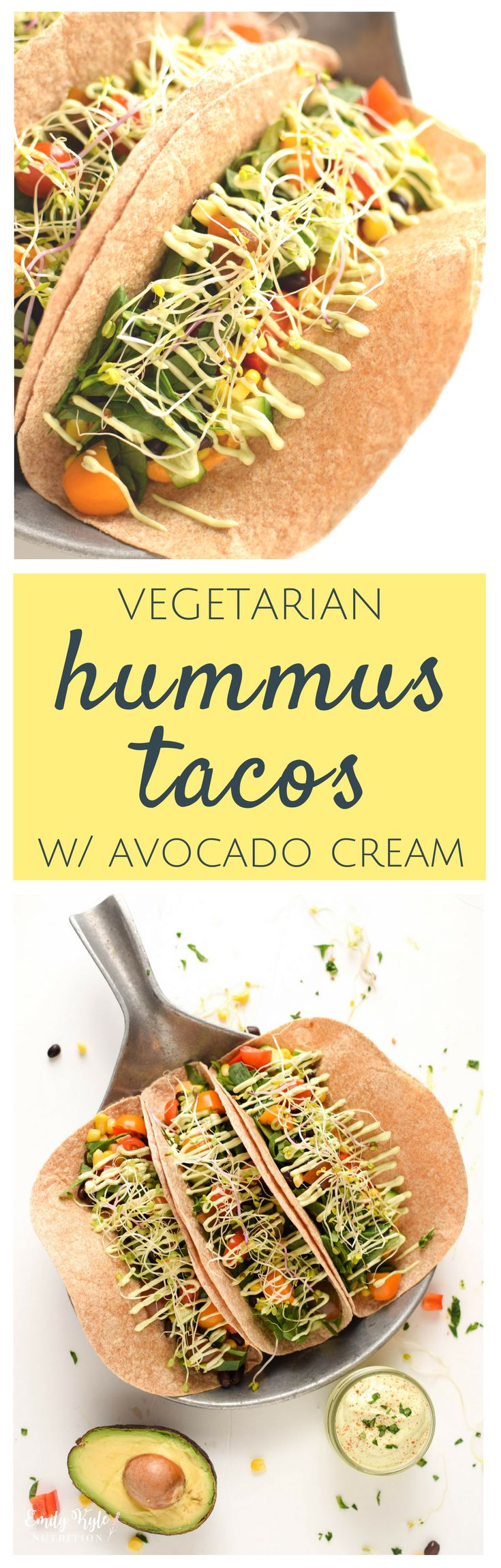 These Vegetarian Hummus Tacos with Avocado Cream are a delicious. vegetarian meal that even the most carnivorous diner won't turn their nose up at! Packed with veggies and plant-based goodness, the whole family will love these delicious and nutritious tacos! via @EmKyleNutrition