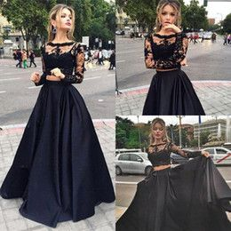 2017 Modest Two Pieces Prom Dresses Sheer Long Sleeves Appliques Lace Top Black Sexy Cheap Evening Party Pageant Occasion Dress for Woman