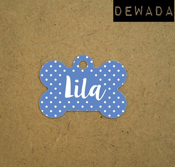 custom Pet ID Tags  blu white polka dots