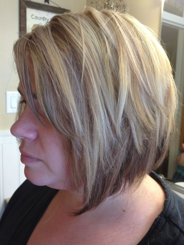 A Line Haircut With 3 Color Blonde And Brown Copper Foil
