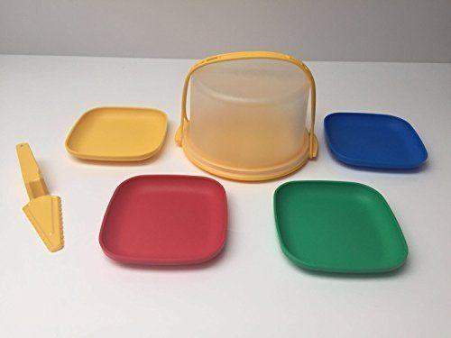 Tupperware Wiener Walzer Mini Tortenbehälter mit vier kleinen Teller und Tortenheber