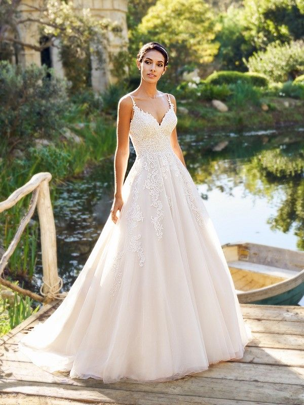 Moonlight Collection J6571 Beautiful Lace A Line Wedding Dress With Straps Affordableweddingdress Bride Bridalgown