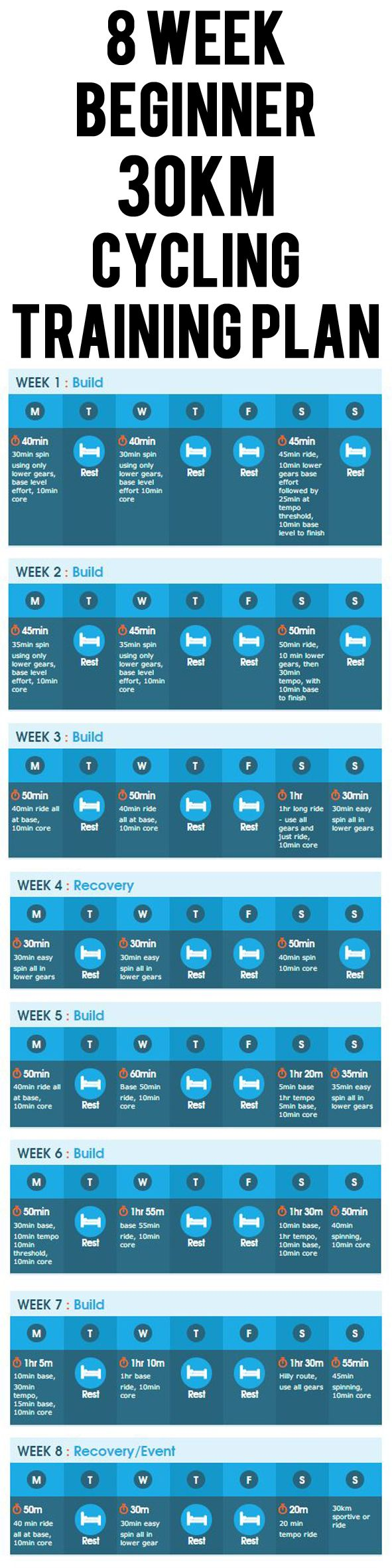 *8 WEEK BEGINNER 30KM  CYCLING TRAINING PLAN. #cycling #bike #cycle #bicycle #trainingplan