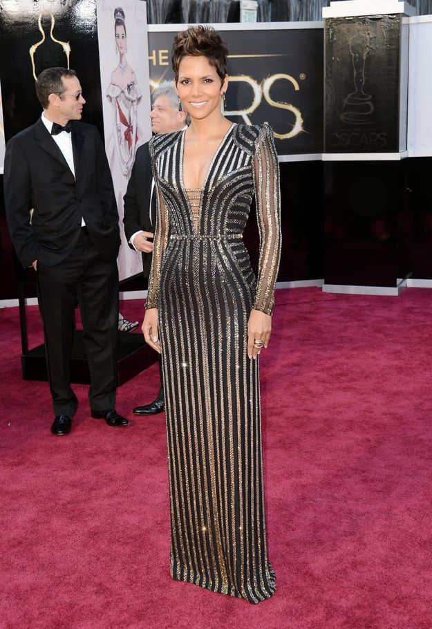 Obsessed Halle Berry's Bond girl–inspired Versace.