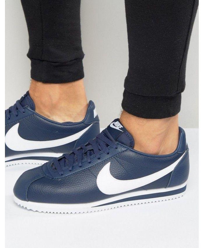 Nike Cortez Homme Cuir Bleu Blanc   Mens leather trainers, Nike ...
