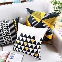 Oreiller Jaune Triangle Géométrique Couleur animal Treillis taie d'oreiller pour Voiture bureau lombaire oreiller accueil décorer canapé coussins