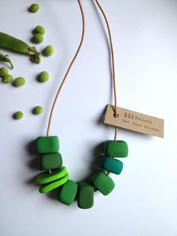 Boxy Jewellry on Etsy. Handmade in Australia.  This is the EAT YOUR GREENS necklace. It is a handmade Boxy BLOCK necklace. It is made of seven handcrafted block beads with two flat ones - just