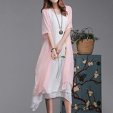 Plus+Size+Casual/Daily+Simple+Loose+Dress,Floral+Round+Neck+Midi+Short+Sleeve+Cotton+Linen+Pink+Gray+Green+Summer+Mid+Rise+Inelastic+–+USD+$+15.19