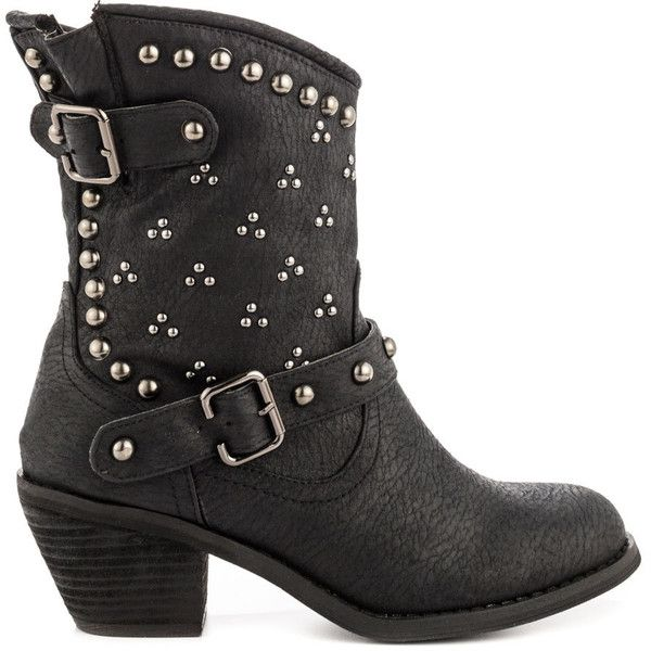 Not Rated Women's Baja - Black ($76) ❤ liked on Polyvore featuring shoes, boots, ankle booties, ankle boots, black, black buckle boots, silver ankle boots, black booties and black boots
