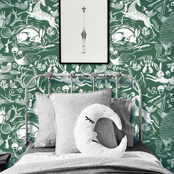 Linocut Animal Pattern Forest Green Removable Wallpaper Peel Etsy Fabric Wallpaper Removable Wallpaper Patterned Furniture