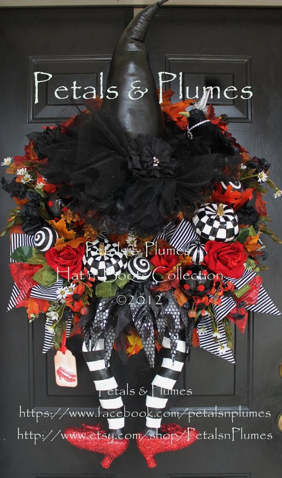 Halloween Witch Wreath-MADE to ORDER- WiCkEd WiTcH with Ruby Red Slippers-Fall Wreath-(Please see Production time)Petals & Plumes Original