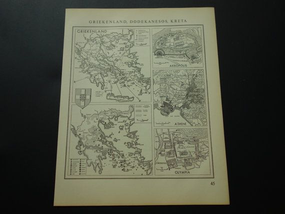 Old vintage map of Greece 1950 Dutch retro maps Greek economy Akropolis Olympia Athens poster oude kaart van Griekenland 27x33cm/11x13''