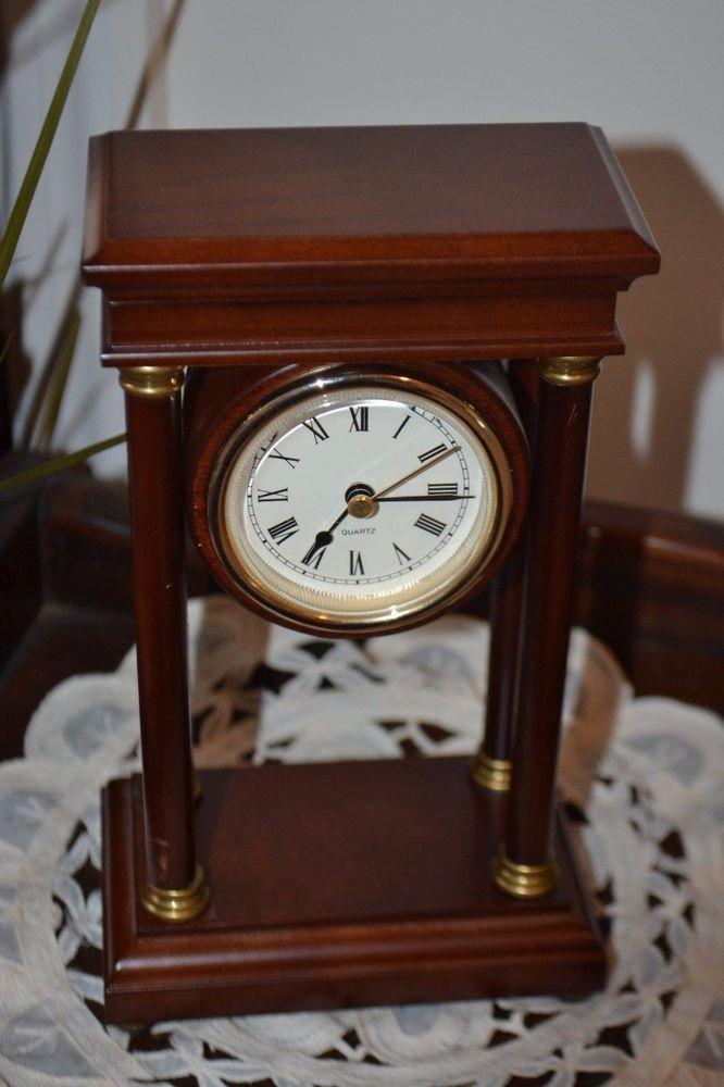 Vintage Quartz Shelf/Mantel Clock,4 Pillars,Mahogany Finish,Global Views,Taiwan