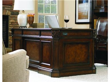 """Shop for Hooker Furniture European Renaissance II 73"""" Executive Desk, 374-10-562, and other Home Office Desks at Stacy Furniture in Grapevine, Allen, Plano, TX. Cherry and myrtle burl veneers with hardwood solids are an exquisite combination in the European Renaissance II collection."""