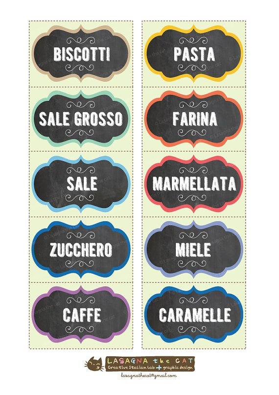 DOWNLOAD ISTANTANEO. Etichette barattoli cucina lavagna vintage - JPG files stampabili on Etsy, 3,00 €