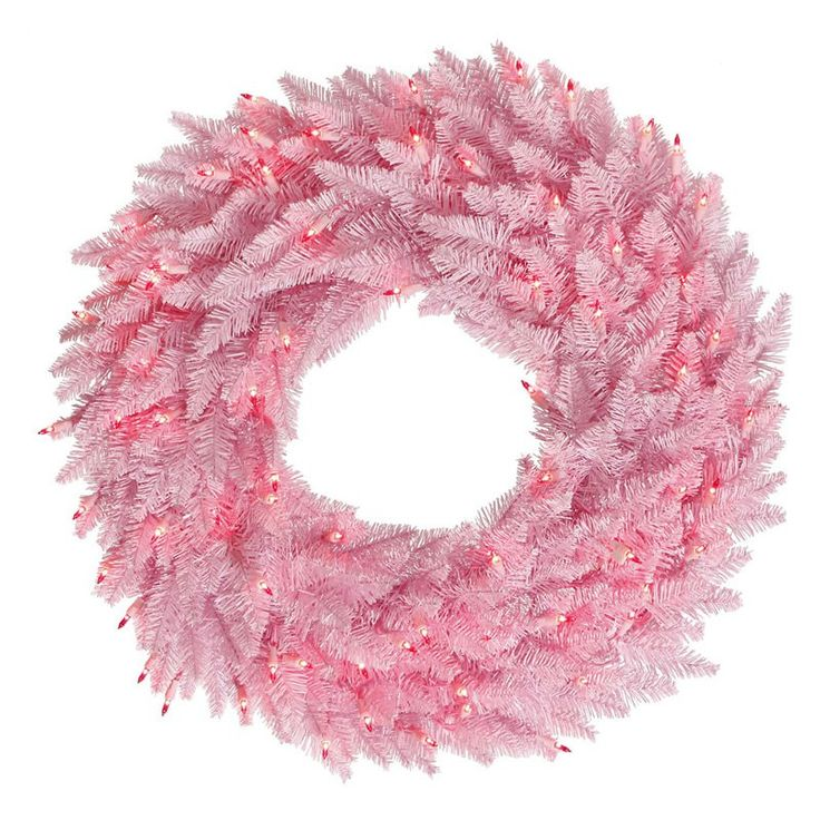 Vickerman Pink Fir Pre-Lit Wreath - Pink Lights - K1238