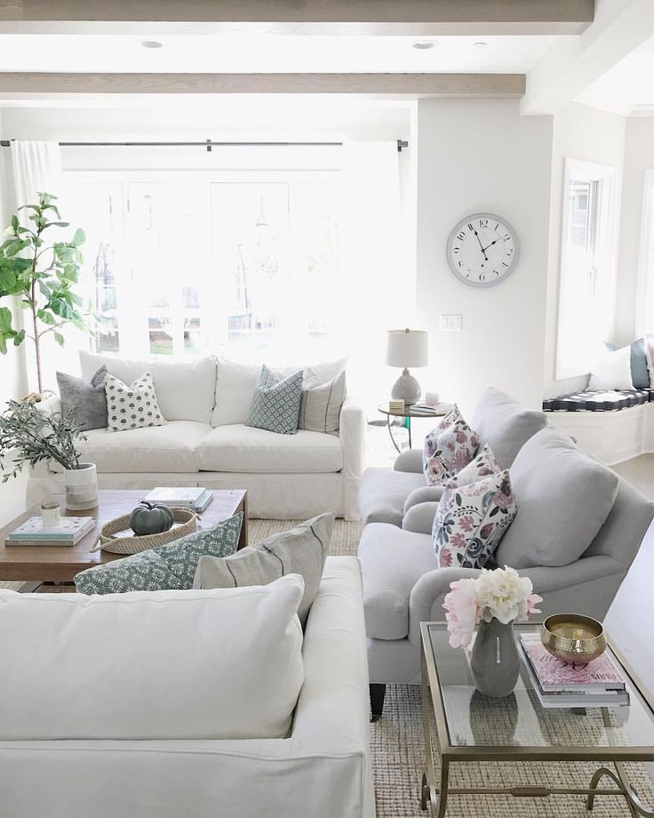 @lifeoncedarlane living room decor, benjamin moore classic gray, white sofa, floral pillows, wood beams, home decor