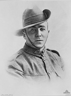 Stan McDougall VC A05155.jpg On 28 March 1918 at Dernancourt, France, when an enemy attack succeeded in securing a foothold in the Allied line, McDougall charged the second wave single-handed, killing seven and capturing a machinegun, which he turned on the attackers, routing them and causing many casualties. He continued his attack until his ammunition ran out, when he seized a bayonet and charged again, killing three men and an officer.
