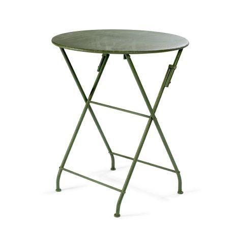 Rundt havebord i grønt patineret metal