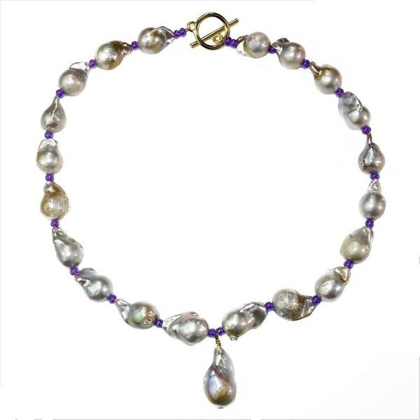 Preowned Baroque Pearl Necklace With Center Pearl Dangle (2.250 BRL) ❤ liked on Polyvore featuring jewelry, necklaces, drop necklaces, multiple, pearl drop necklace, pearl necklaces, sparkly necklace, pearl jewellery and white pearl necklace