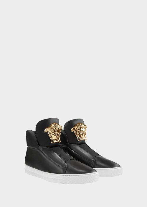 Versace Slip-On High-Top Palazzo Sneakers for Men | Official Website. Palazzo Slip-On Sneakers by Versace for Men's Shoes. Crafted from soft calf skin and nappa and embellished with a gold-tone Medusa, this sleek slip-on style is street ready.