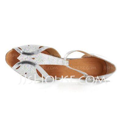 Donna Glitter scintillanti Pelle verniciata Tacchi Sandalo Latino Sala da ballo Matrimonio Parte con Con Listino a T Scarpe da ballo (053021494)